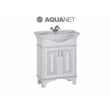 Тумба с раковиной Aquanet Валенса 70см, белая краколет/серебро